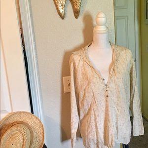 Burnout tissue thin floral blouse Eddie Bauer xxl